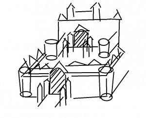 城のラフ画